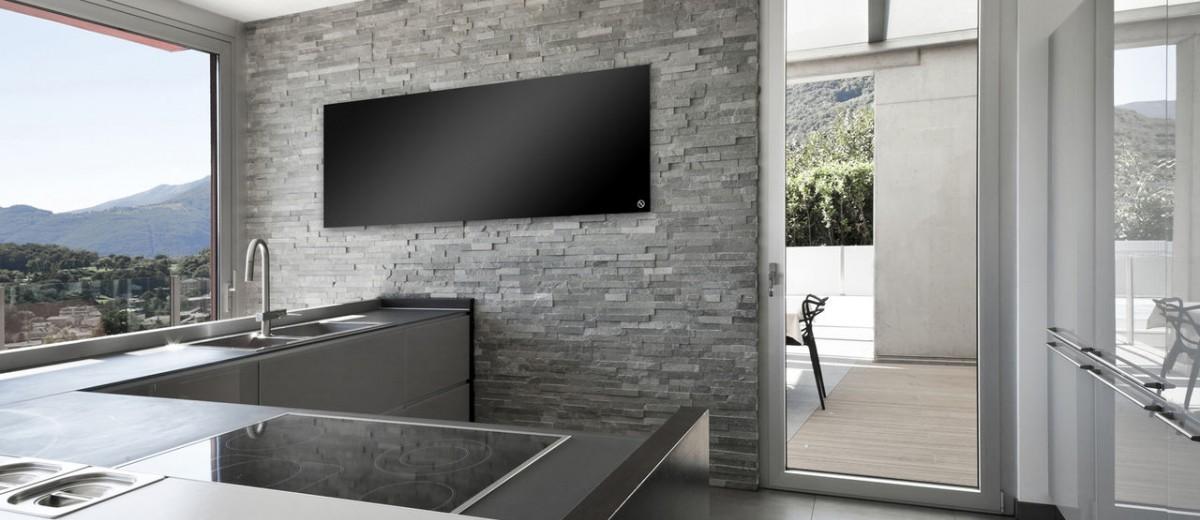 Panel de calefacción infrarroja de cristal en cocina